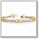 Bracelet Rivière Diamants 1.08 Cts. - Or Jaune et Or Blanc 14K