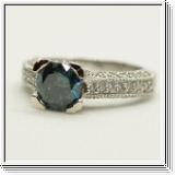 2.63 Carat blue and white diamond ring 14K white gold