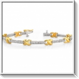 Bracelet Rivière Diamants 1.50 Cts. - Or Jaune et Or Blanc 14K
