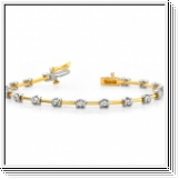 Bracelet Rivière Diamants 1.00 Cts. - Or Jaune et Or Blanc 14K