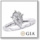 0.50 Ct. D/SI1 PEAR DIAMOND ENGAGEMENT RING 18K GOLD