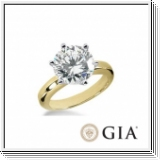 0.50 Ct. Blanc Diamant Bague de Or jaune 14K D/VS1 +GIA cert.