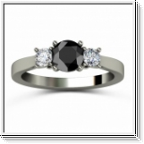 Diamond triple ring black and white 0.75 carat 14K black gold