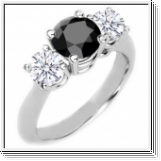 Diamond triple ring black / white 0.75 carat, 14K white gold