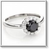 Diamond ring black / white 0.55 carat, 14K white gold