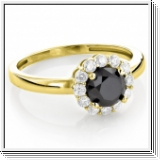 Diamond ring black / white 0.55 carat, 14K yellow gold