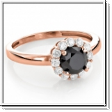 Diamond ring black / white 0.55 carat, 14K rose gold