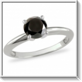 0.40 CT BLACK DIAMOND ENGAGEMENT RING 14K GOLD