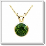 0.25 Carat green Diamond 14K gold Pendant