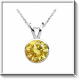 0.25 Carat jaune Solitaire Diamants Pendentif Or 14K