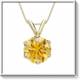 0.25 Carat jaune Solitaire Diamants Pendentif Or jaune 14K