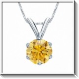 0.50 Carat jaune Solitaire Diamants Pendentif Or blanc 14K