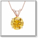 0.50 Carat jaune Solitaire Diamants Pendentif Or rose 14K