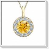 Colgante de diamantes de 0.75 ct diamantes oro amarillo 14K