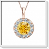 Colgante de diamantes de 0.75 ct diamantes oro rosa 14K