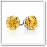 Pendiente de diamante amarillo 1.00 Quilates - 14K ORO blanco