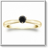 0.25 CT BLACK DIAMOND ENGAGEMENT RING 14K GOLD