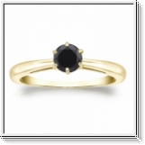 0.50 CT BLACK DIAMOND ENGAGEMENT RING 14K GOLD