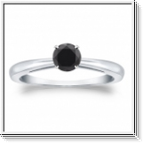 0.50 CT BLACK DIAMOND ENGAGEMENT RING 14K WHITE GOLD