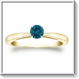Solitaire 0.25 Ct. Bleu Diamant Bague de Or jaune 14K