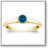 0.25 Quilates Diamante azul Anillo Solitarios 14k amarillo