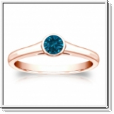 Solitaire 0.25 Ct. Bleu Diamant Bague de Or rose 14K