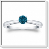 Solitaire 0.25 Ct. Bleu Diamant Bague de Or blanc 14K