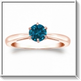 0.50 Quilates Diamante azul Anillo Solitario 14k rosa