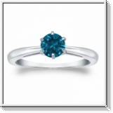0.50 Quilates Diamante azul Anillo Solitario 14k blanco
