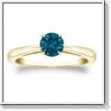 0.50 Quilates Diamante azul Anillo Solitario 14k amarillo