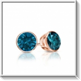 Diamantohrstecker 0.50 Karat blaue Diamanten 585/14K Rosegold
