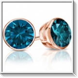 Diamant Ohrstecker 2.00 Karat blaue Diamanten 585/14K Rosegold