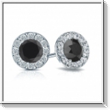 2.00 Ct. Black and white Diamond Earstuds - 14K white gold
