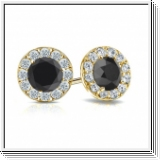 2.00 Ct. Black and white Diamond Earstuds - 14K yellow gold