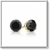 1.00 Ct. Black Diamond Earstuds - 14K yellow gold
