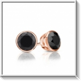 1.00 Ct. Black Diamond Earstuds - 14K rose gold