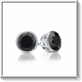 1.00 Ct. Black Diamond Earstuds - 14K white gold