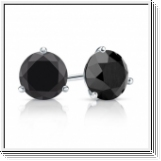 2.00 Ct. Black Diamond Earstuds - 14K white gold
