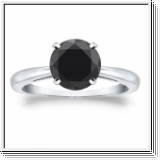 2.00 Quilates Diamante negro Anillo Solitario 14k oro blanco