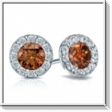 0.80 Ct. Cognac Diamond Earstuds - 14K white gold