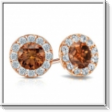 0.80 Ct. Cognac Diamond Earstuds - 14K rose gold