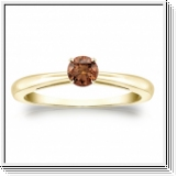 0.25 Quilates Diamante coñac Anillo Solitarios 14k amarillo