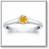 Solitaire 0.25 Ct. Jaune Diamant Bague de Or blanc 14K
