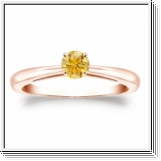 Solitaire 0.25 Ct. Jaune Diamant Bague de Or rose 14K