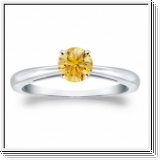 Solitaire 0.50 Ct. Jaune Diamant Bague de Or blanc 14K