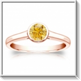 Solitaire 0.50 Ct. Jaune Diamant Bague de Or Rose 14K