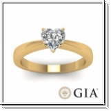Solitaire 0.50 Ct. Coeur Diamant Bague de Or jaune 14K D/SI1
