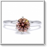 Solitaire 1.00 Ct. Rose Diamant Bague de Or blanc 14K  /VS