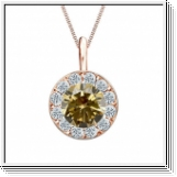 Colgante de diamantes de 1 ct diamantes oro rosa 14K