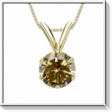 0.50 Carat Solitaire Diamants Pendentif Or jaune 14K